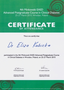 Dr n. med. Eliza Kubicka - Advanced Postgraduate Course in Clinical Diabetes, 2010 r.